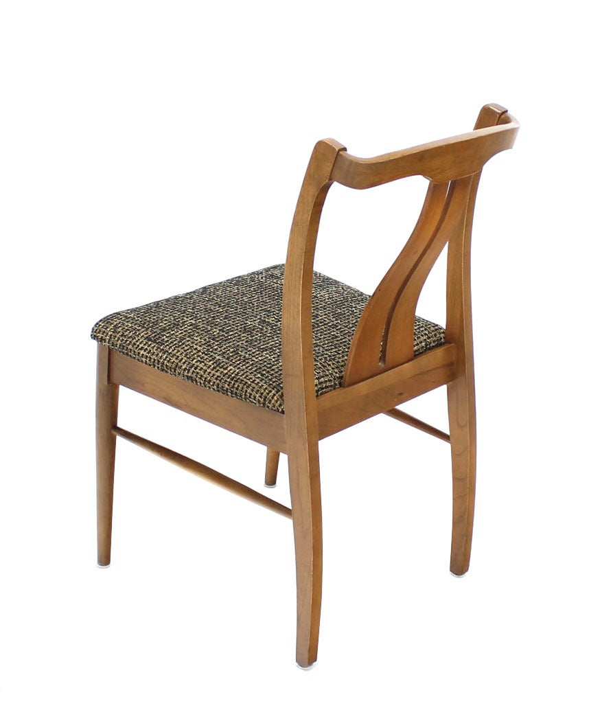 Six Mid-Century Modern Walnut Dining Chairs New Upholstery For Sale 3