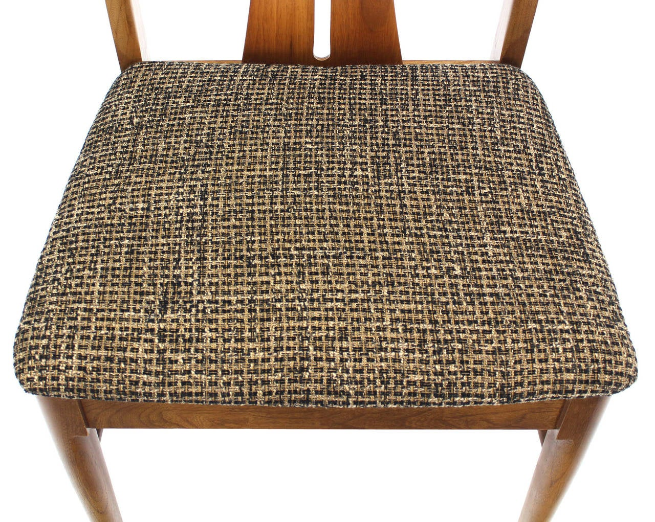 Six Mid-Century Modern Walnut Dining Chairs New Upholstery For Sale 4