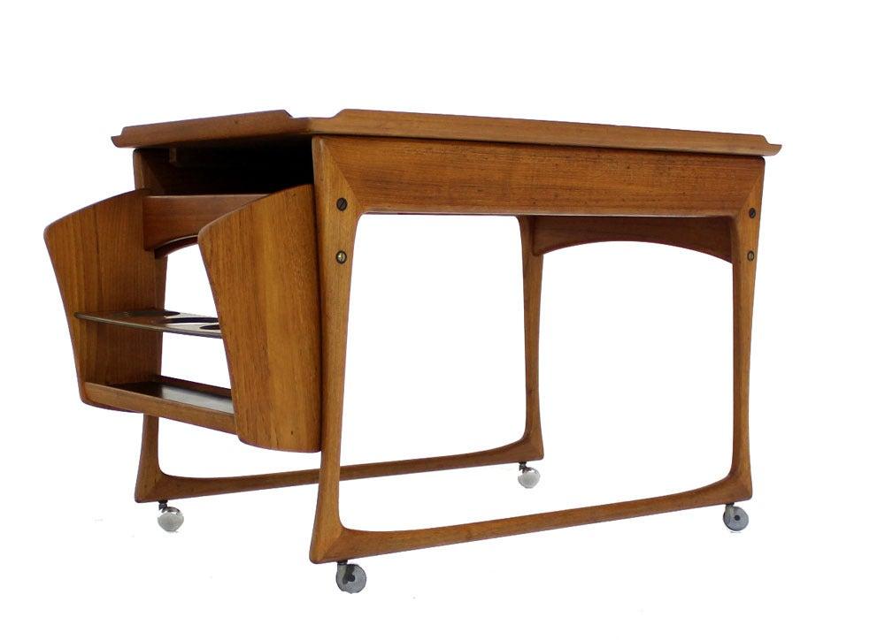 Danish Modern Rolling Teak Bar Cart At 1stdibs