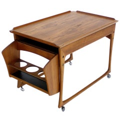 Danish Modern Rolling Teak Bar Cart