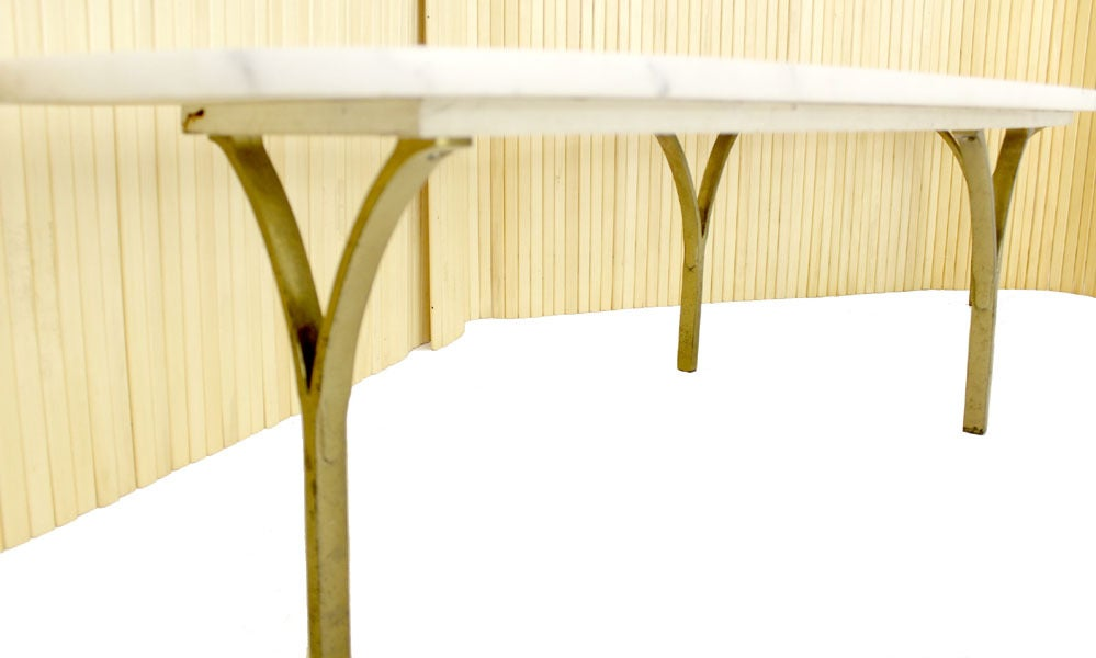 Mid Century Modern Brass Legs Marble Top Coffee Table at ...