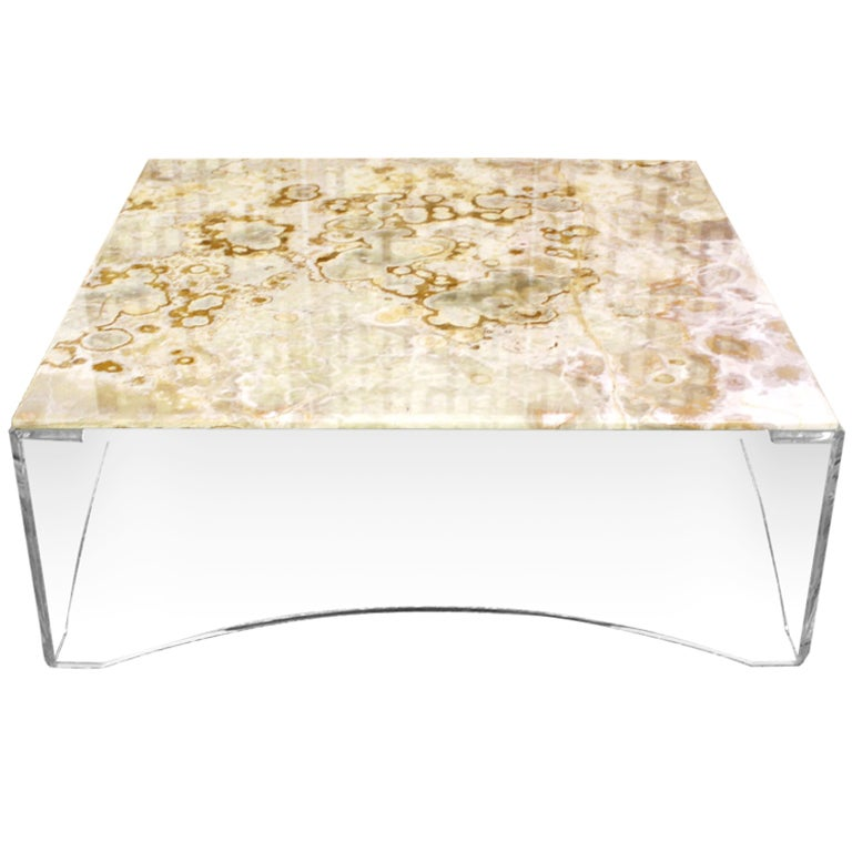 Lucite And Onyx Top Square Coffee Table Mid Century Modern At 1stdibs