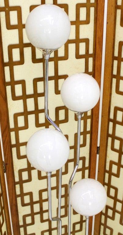 Mid-Century Modern Chrome, Four Glass Globes Floor Lamp image 2