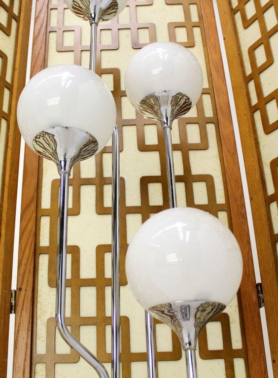Mid-Century Modern Chrome, Four Glass Globes Floor Lamp image 3