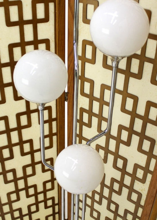 Mid-Century Modern Chrome, Four Glass Globes Floor Lamp image 4