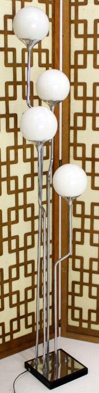 Mid-Century Modern Chrome, Four Glass Globes Floor Lamp image 8