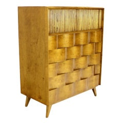 Swedish Modern Solid Birch High Chest or Dresser by Edmond Spence