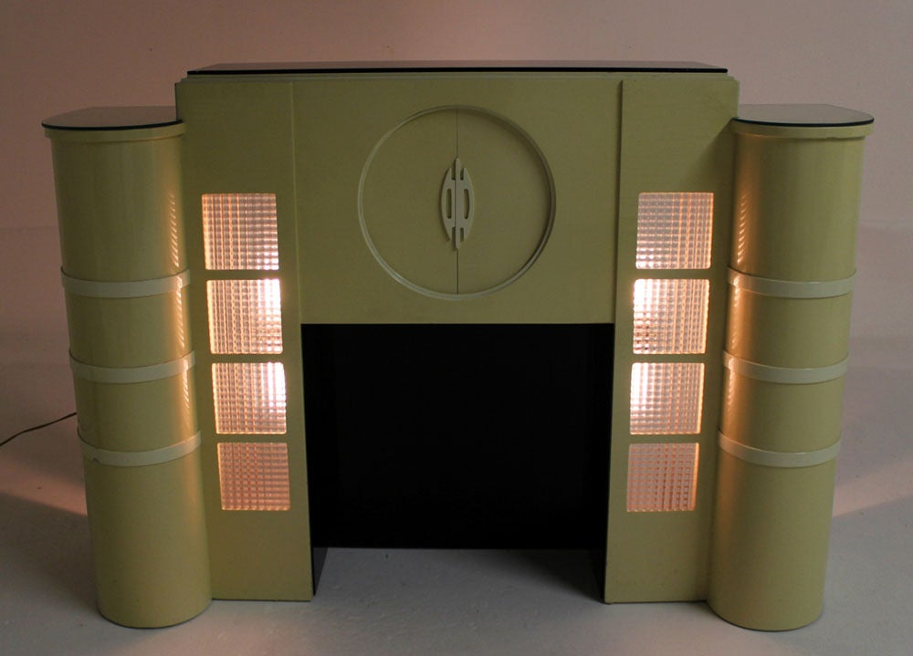 White Lacquer Mid Century Modern Style Faux Fireplace Mantel Bar At 1stdibs
