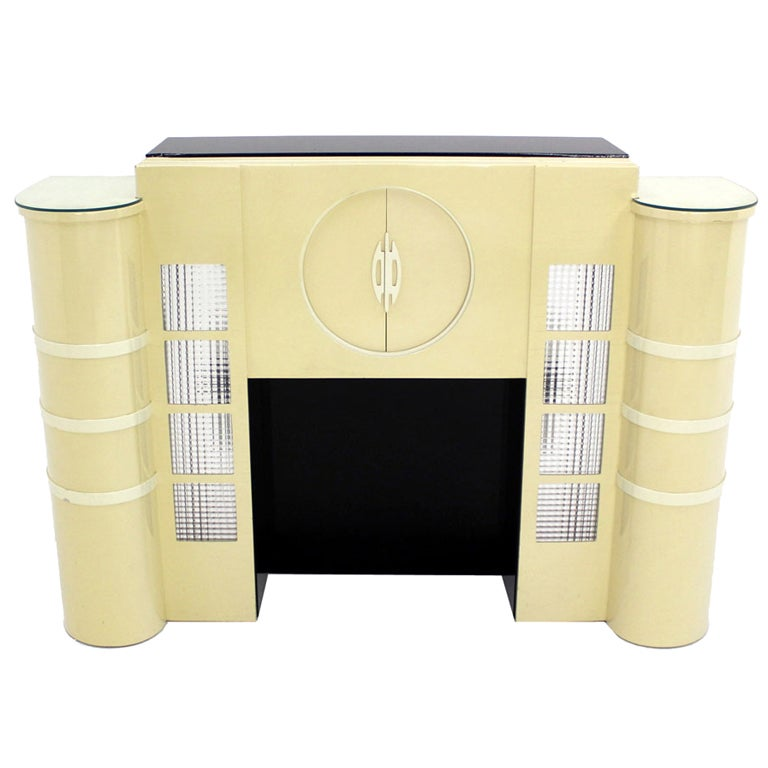 White Lacquer Mid-Century Modern Style Faux Fireplace Mantel Dry Bar