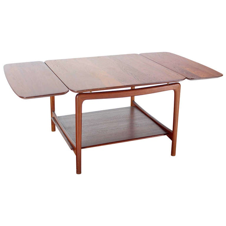 Solid Teak DropLeaf Coffee Table For Sale at 1stdibs