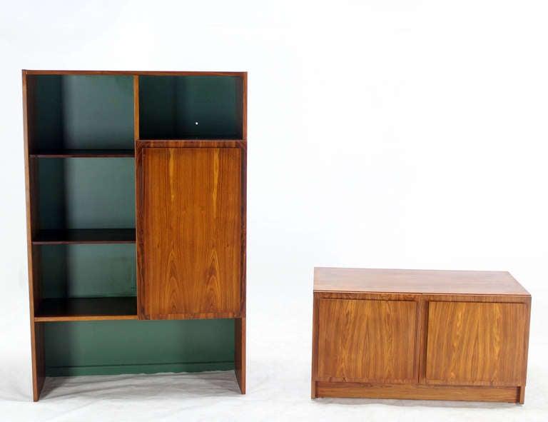 danish mid century modern rosewood wall unit shelves at. Black Bedroom Furniture Sets. Home Design Ideas