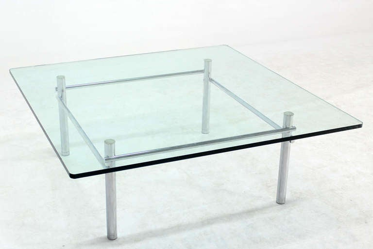 Solid Chrome Base with Heavy Steel Bars and Square GlassTop