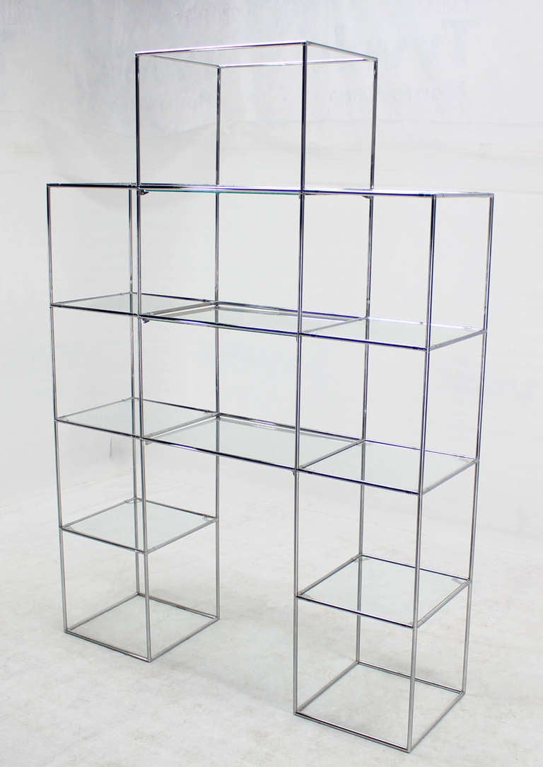 chrome and glass mid century modern etagere display shelves at 1stdibs. Black Bedroom Furniture Sets. Home Design Ideas