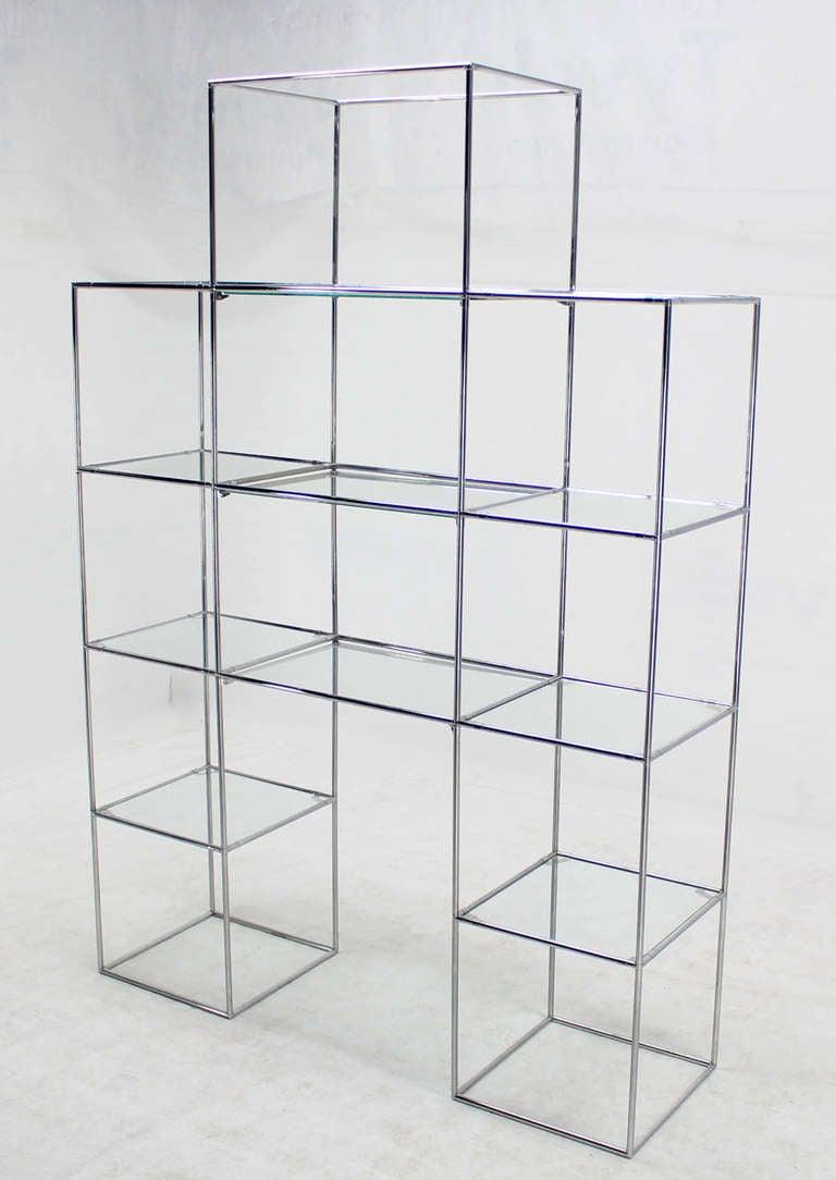 chrome and glass mid century modern etagere display shelves at 1stdibs. Black Bedroom Furniture Sets. Home Design Ideas