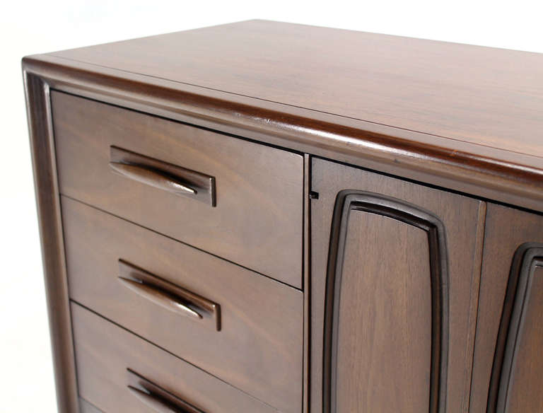 Lacquered Mid-Century Modern Long Walnut Credenza Dresser For Sale