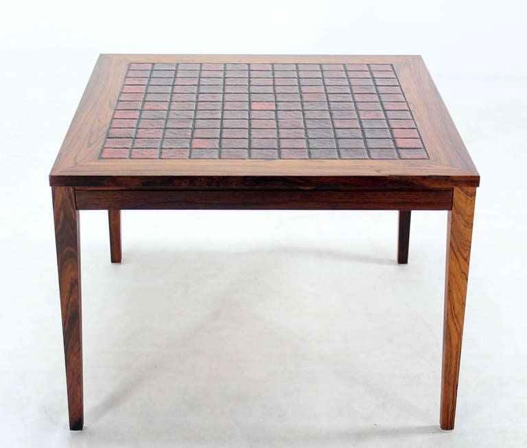 Danish Mid Century Modern Occasional Side Coffee Table Rosewood: Mid-Century Danish Modern Square Rosewood And Tile-Top End
