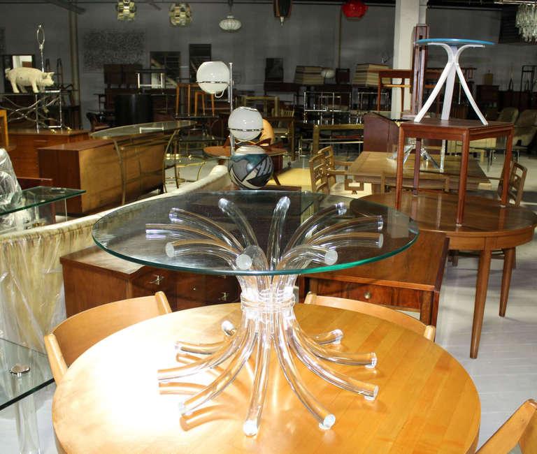 Mid-Century Modern Lucite Sunburst Base with Round Glass ...