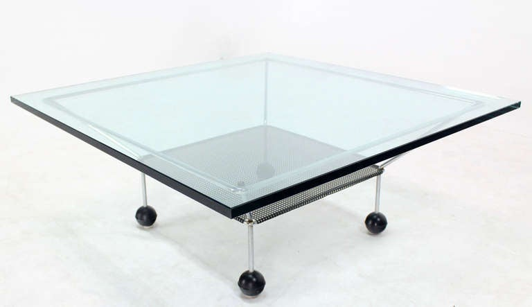 Mid Century Modern Square Glass Top Coffee Table On Atomic Legs For Sale At 1stdibs
