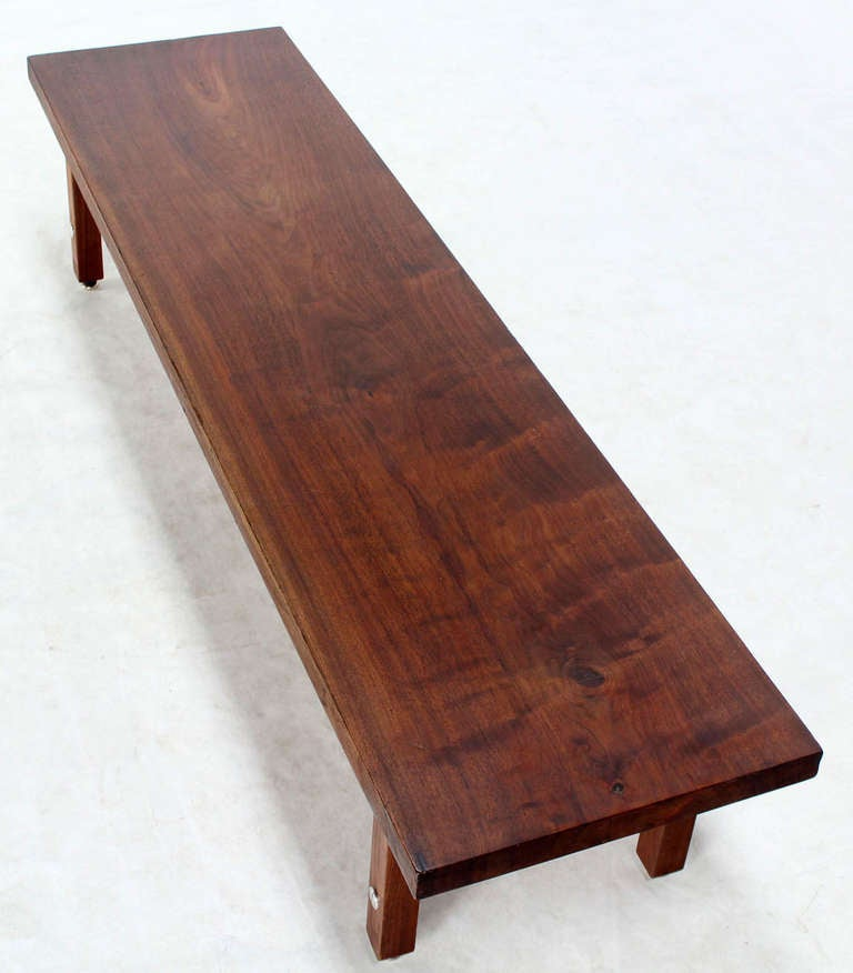Long Solid Walnut-Top Coffee Table or Bench For Sale 1