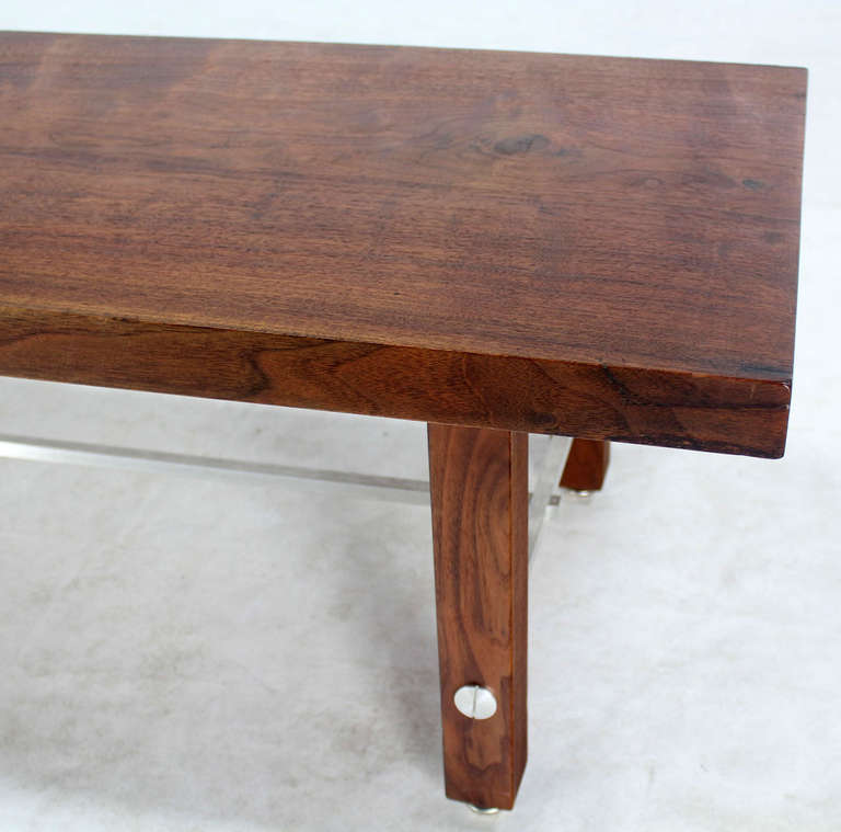 20th Century Long Solid Walnut-Top Coffee Table or Bench For Sale