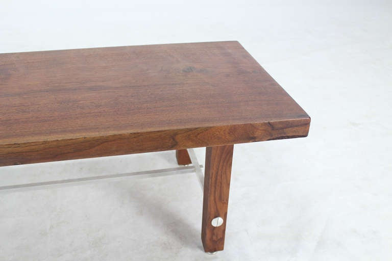 Long Solid Walnut-Top Coffee Table or Bench For Sale 2
