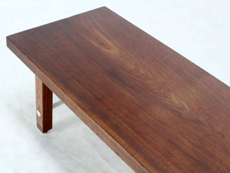 American Long Solid Walnut-Top Coffee Table or Bench For Sale