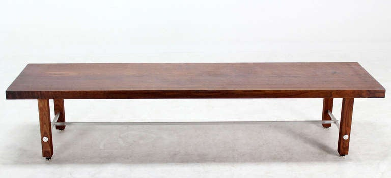 Aluminum Long Solid Walnut-Top Coffee Table or Bench For Sale