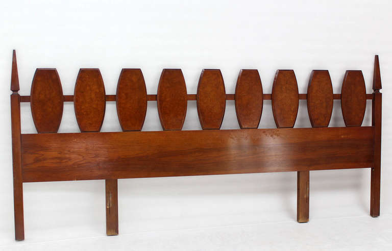 Mid Century Modern Walnut King Size Burlwood Headboard 102 Inches Long For Sale 1