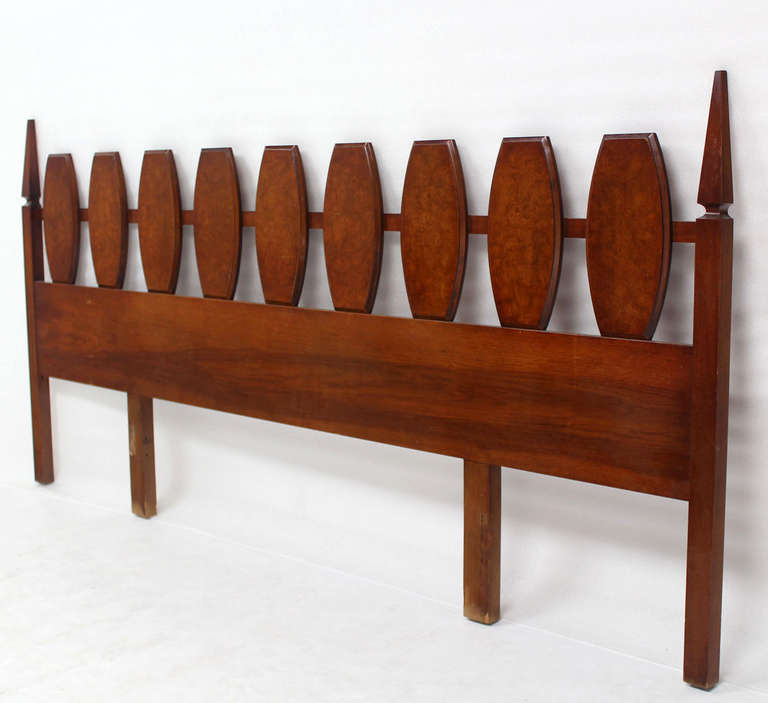 Mid-Century Modern Mid Century Modern Walnut King Size Burlwood Headboard 102 Inches Long For Sale