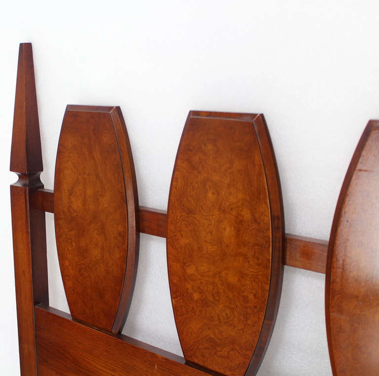American Mid Century Modern Walnut King Size Burlwood Headboard 102 Inches Long For Sale