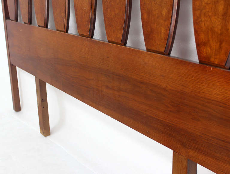 Late 20th Century Mid Century Modern Walnut King Size Burlwood Headboard 102 Inches Long For Sale