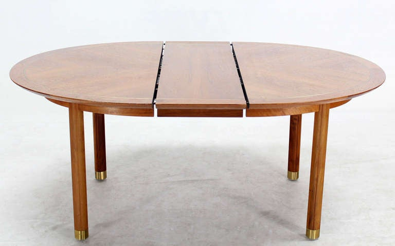 Baker MidCentury Modern Walnut Oval Dining Table With One Leaf At - Modern oval dining table with leaf