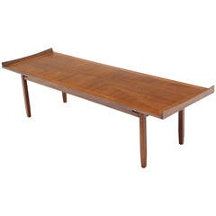 Danish Modern Long Rectangle Walnut Coffee Table Rolled Ends
