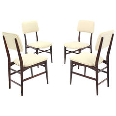 Set of Four Italian Modern Walnut Dining Chairs New Upholstery
