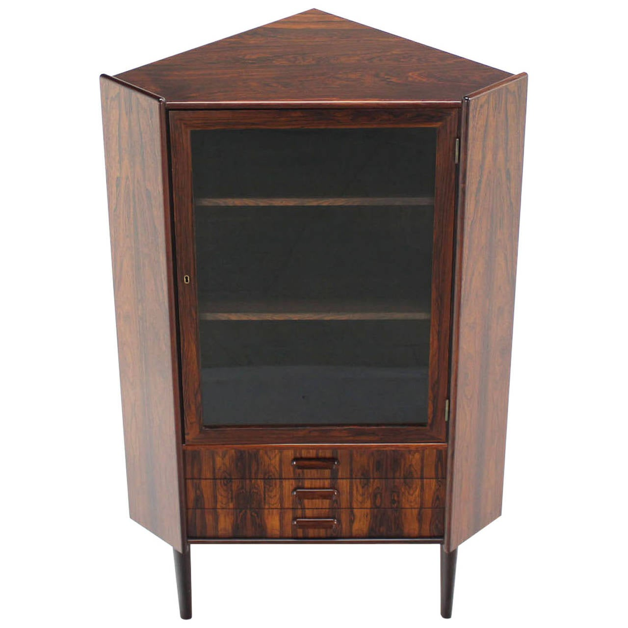 Rosewood Danish Mid Century Modern Corner Cabinet Glass Door Three Drawers For Sale At 1stdibs