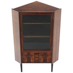 Rosewood Danish Mid-Century Modern Corner Cabinet Glass Door Three Drawers