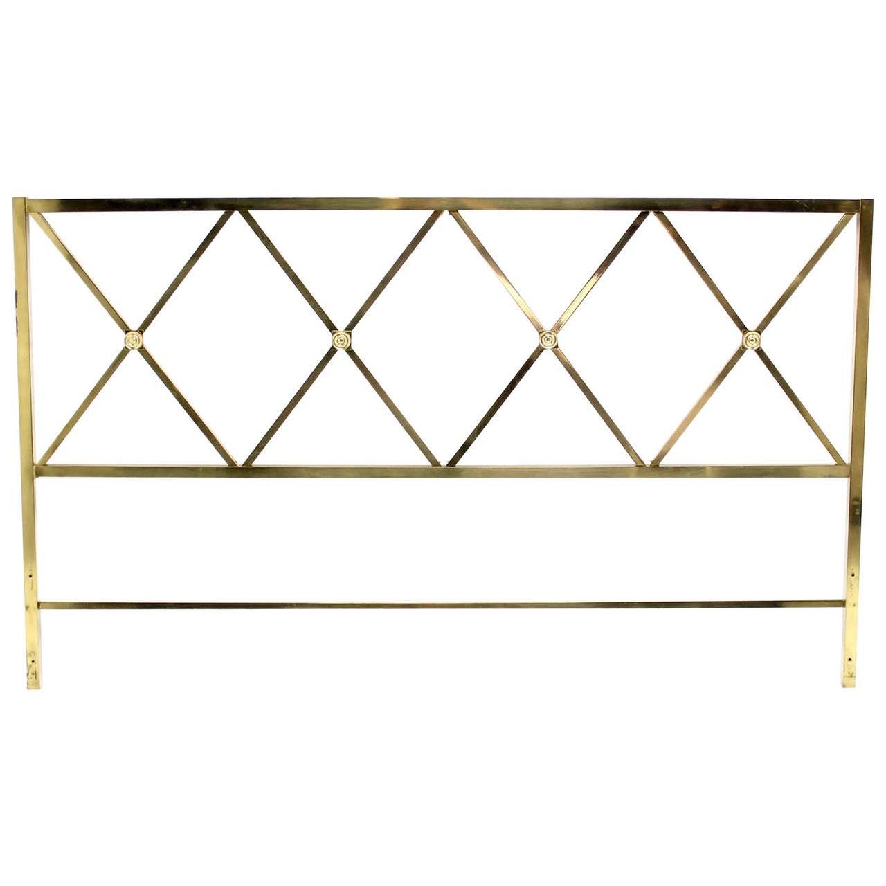 Glamorous Brass King-Size X Pattern Headboard Brass Rosetts
