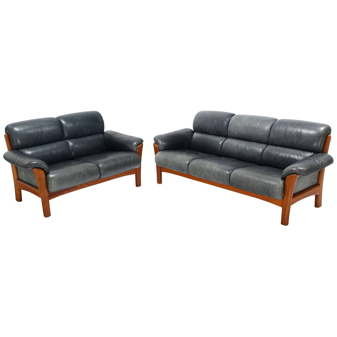 Danish Modern Leather and Teak Living Room Set, Sofa and Loveseat at ...