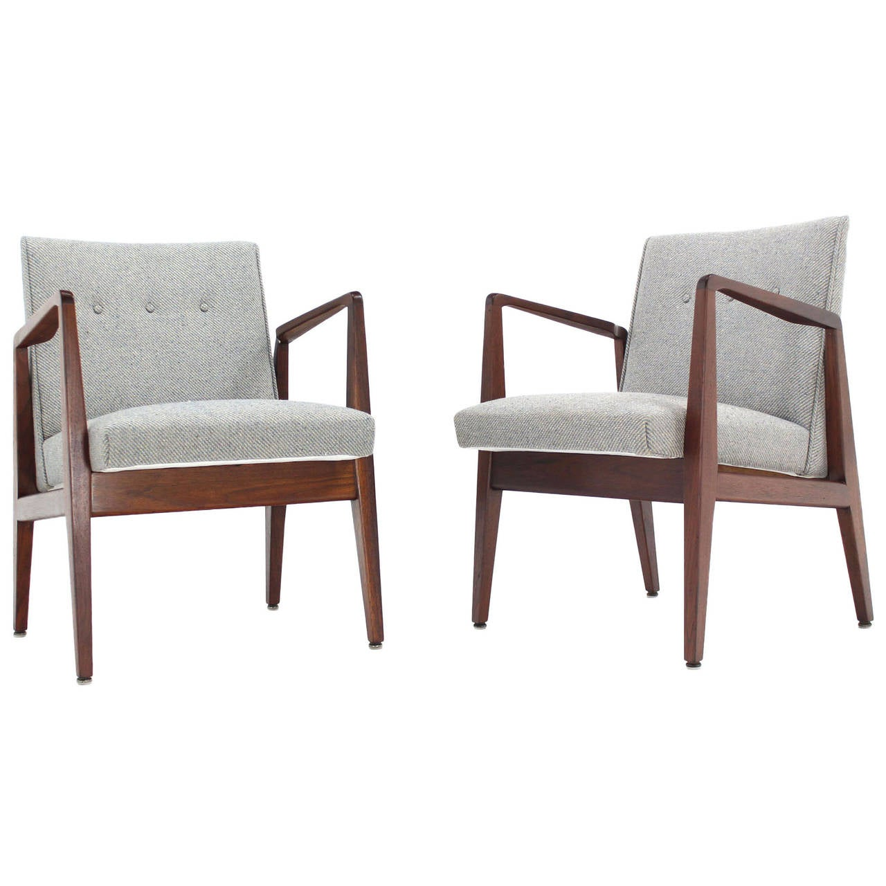 Pair of Jens Risom Lounge Chairs with New Wool Upholstery at 1stdibs