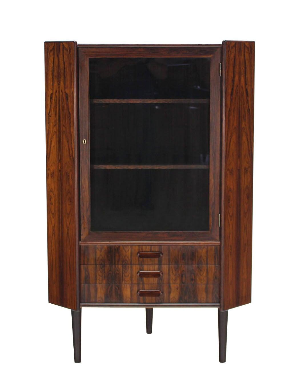 Rosewood Danish Mid-Century Modern Corner Cabinet Glass