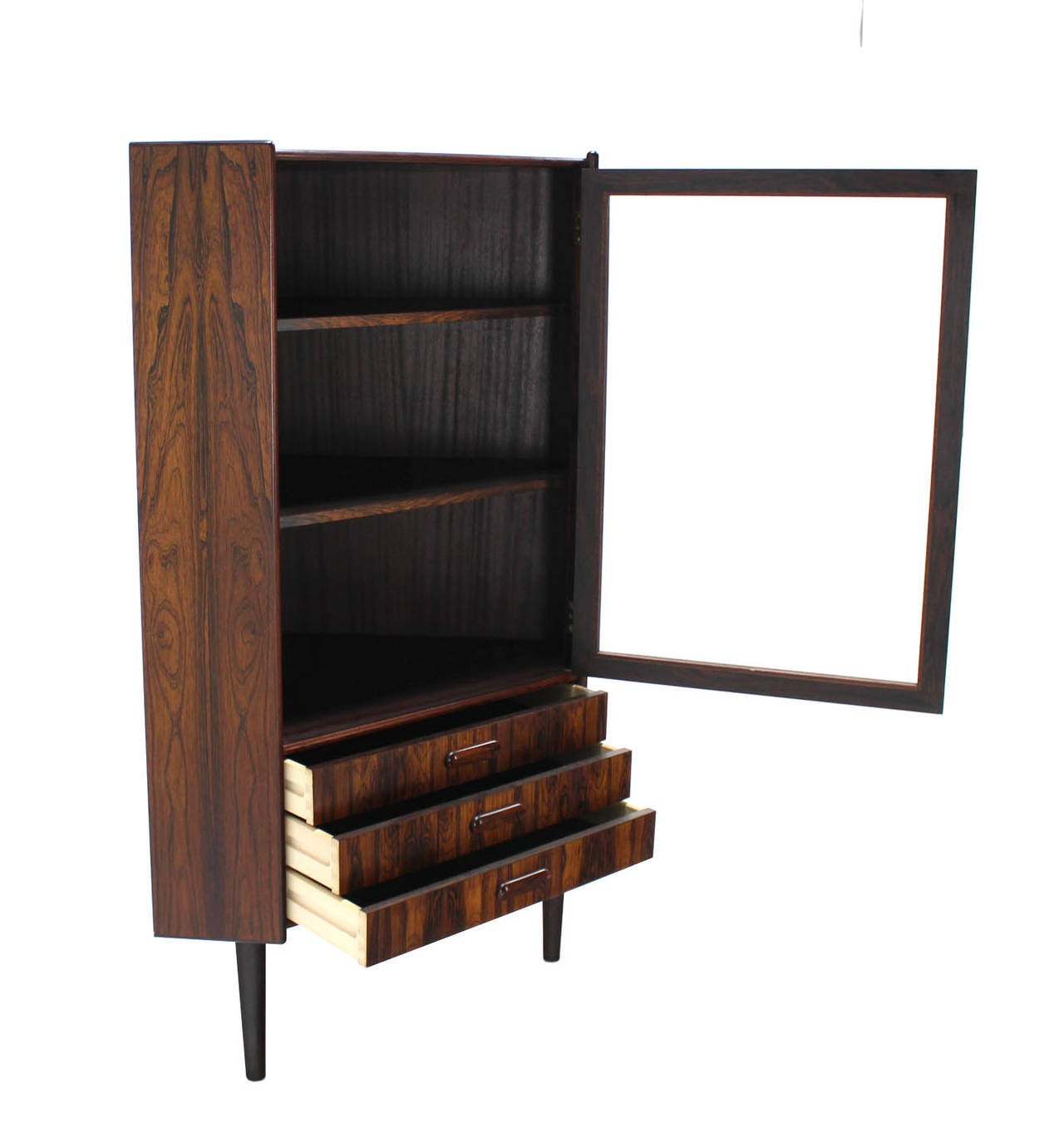 Rosewood Danish Mid-Century Modern Corner Cabinet Glass Door Three ...