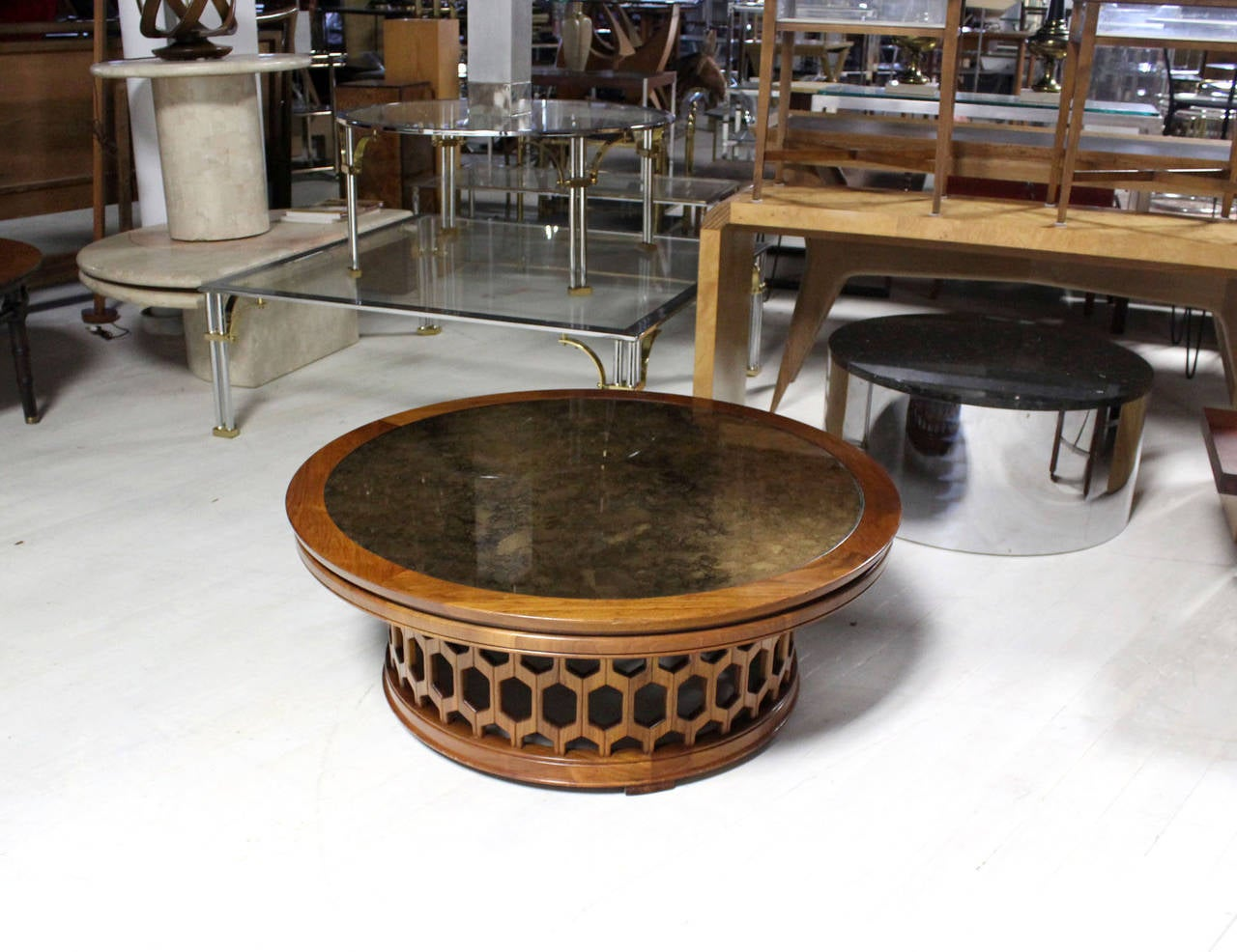 Pierced Carved Honeycomb Pattern Solid Walnut Round Coffee Table At 1stdibs