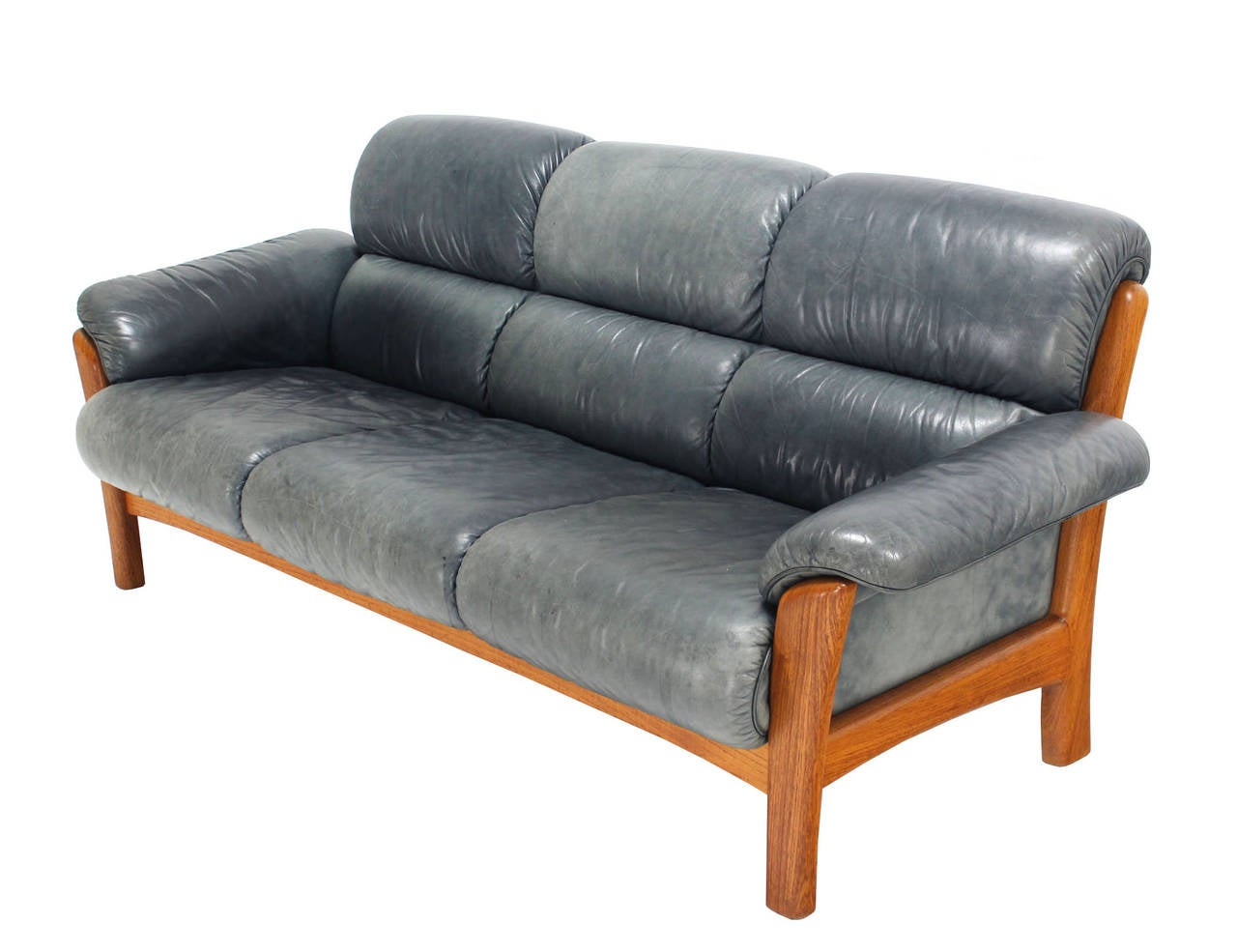 Danish Modern Leather And Teak Living Room Set Sofa And Loveseat At 1stdibs