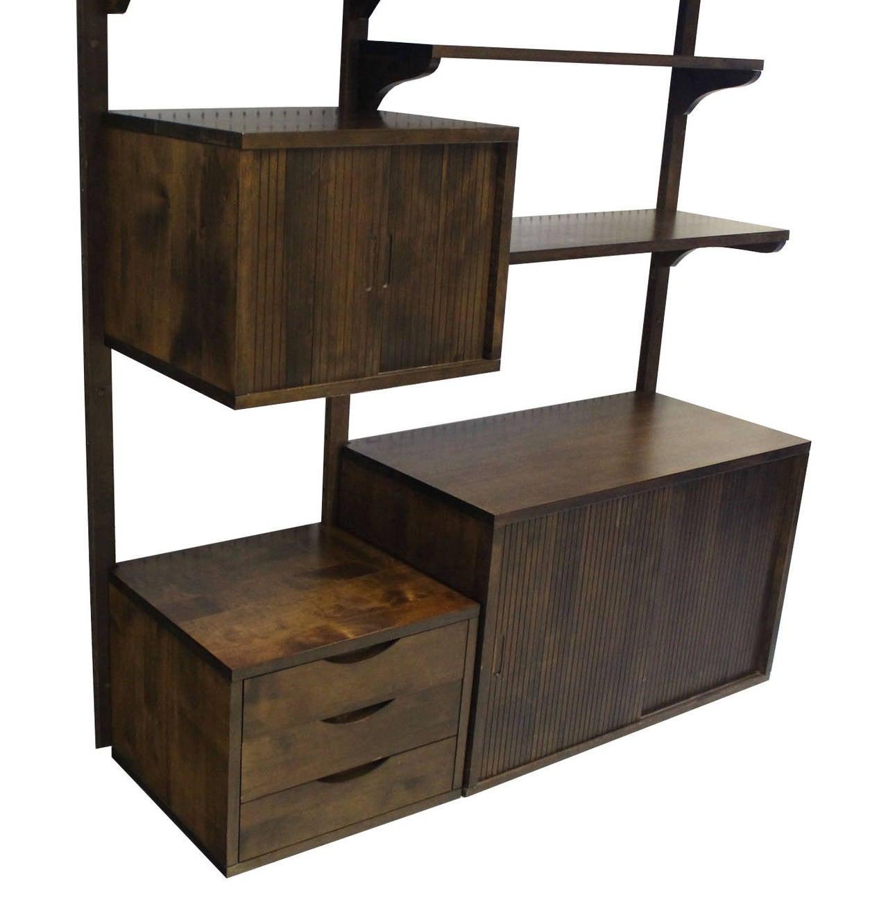 Danish Mid Century Modern Walnut Wall Unit Cabinets