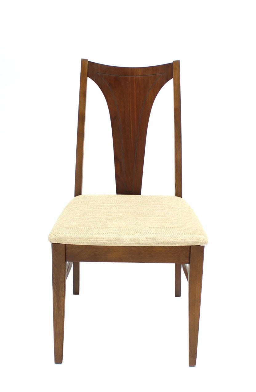 Set of six danish modern walnut dining chairs at 1stdibs for Danish modern dining chairs