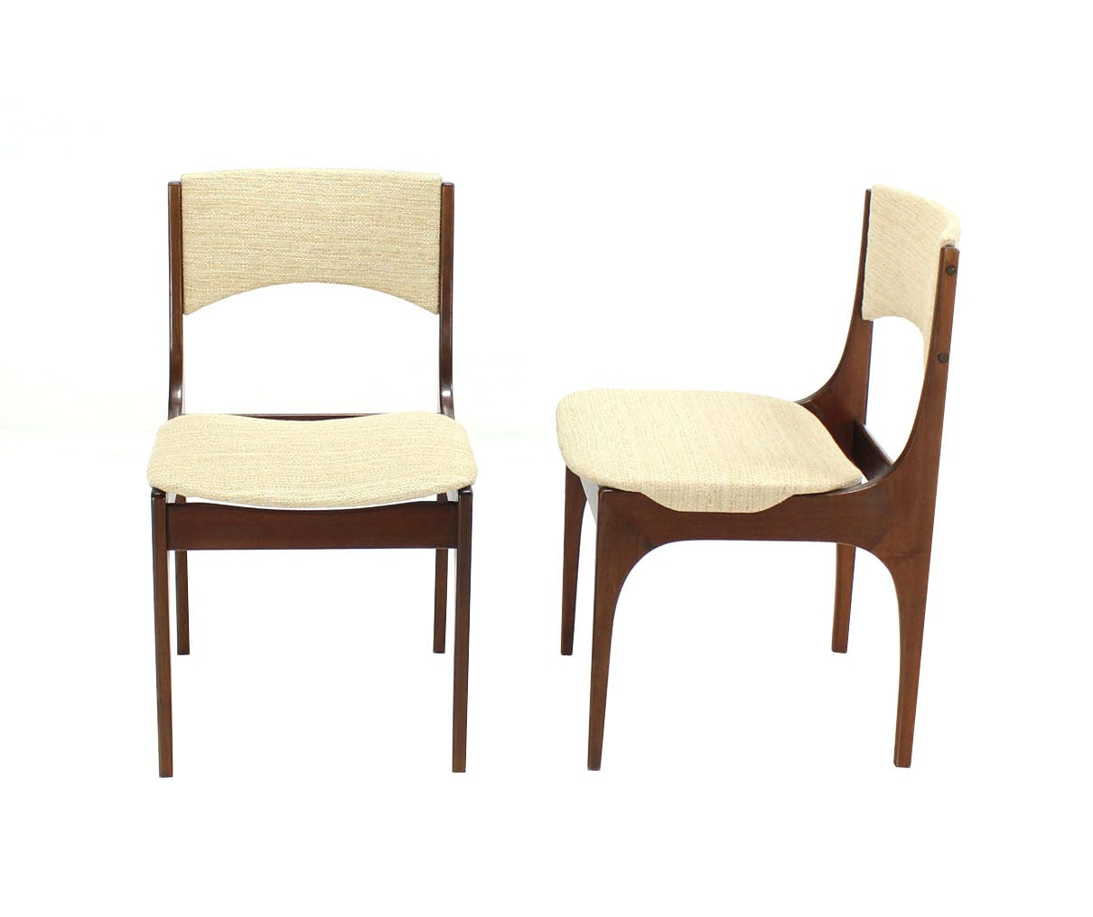 Mid-Century Modern Set of Six Italian Modern Dining Chairs with New Upholstery For Sale