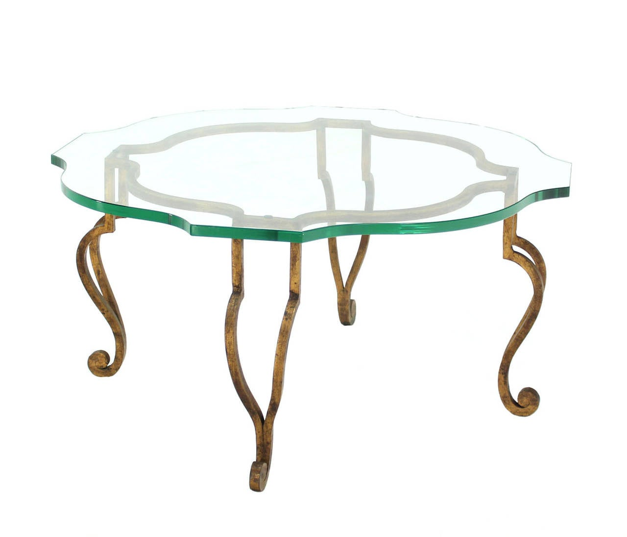 Figural wrought iron base coffee table with thick glass top at 1stdibs Wrought iron coffee table bases