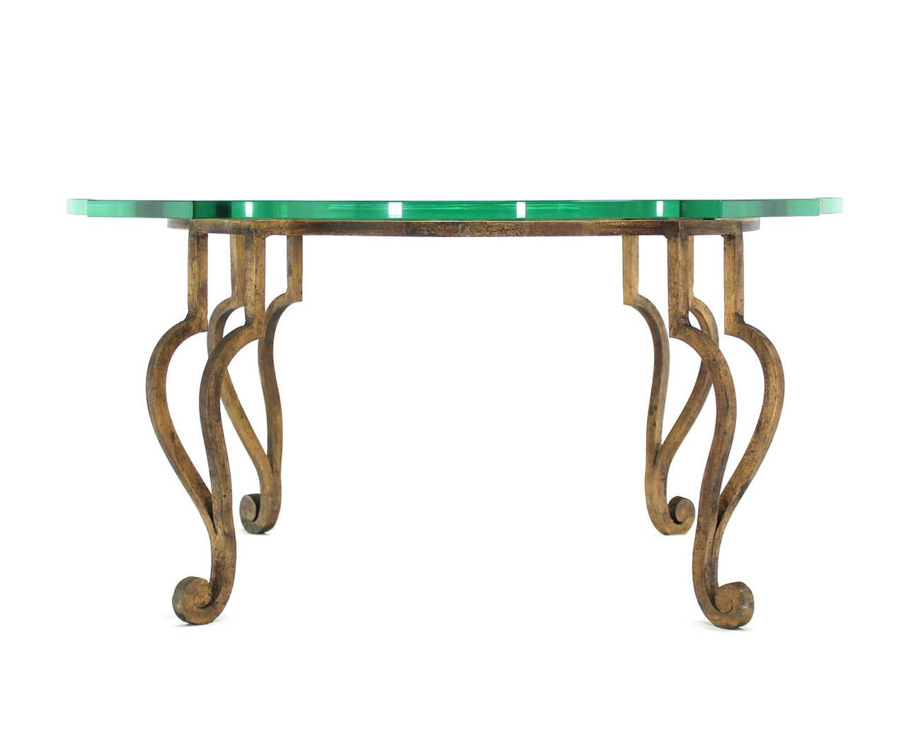 Figural wrought iron base coffee table with thick glass top for sale at 1stdibs Wrought iron coffee table bases