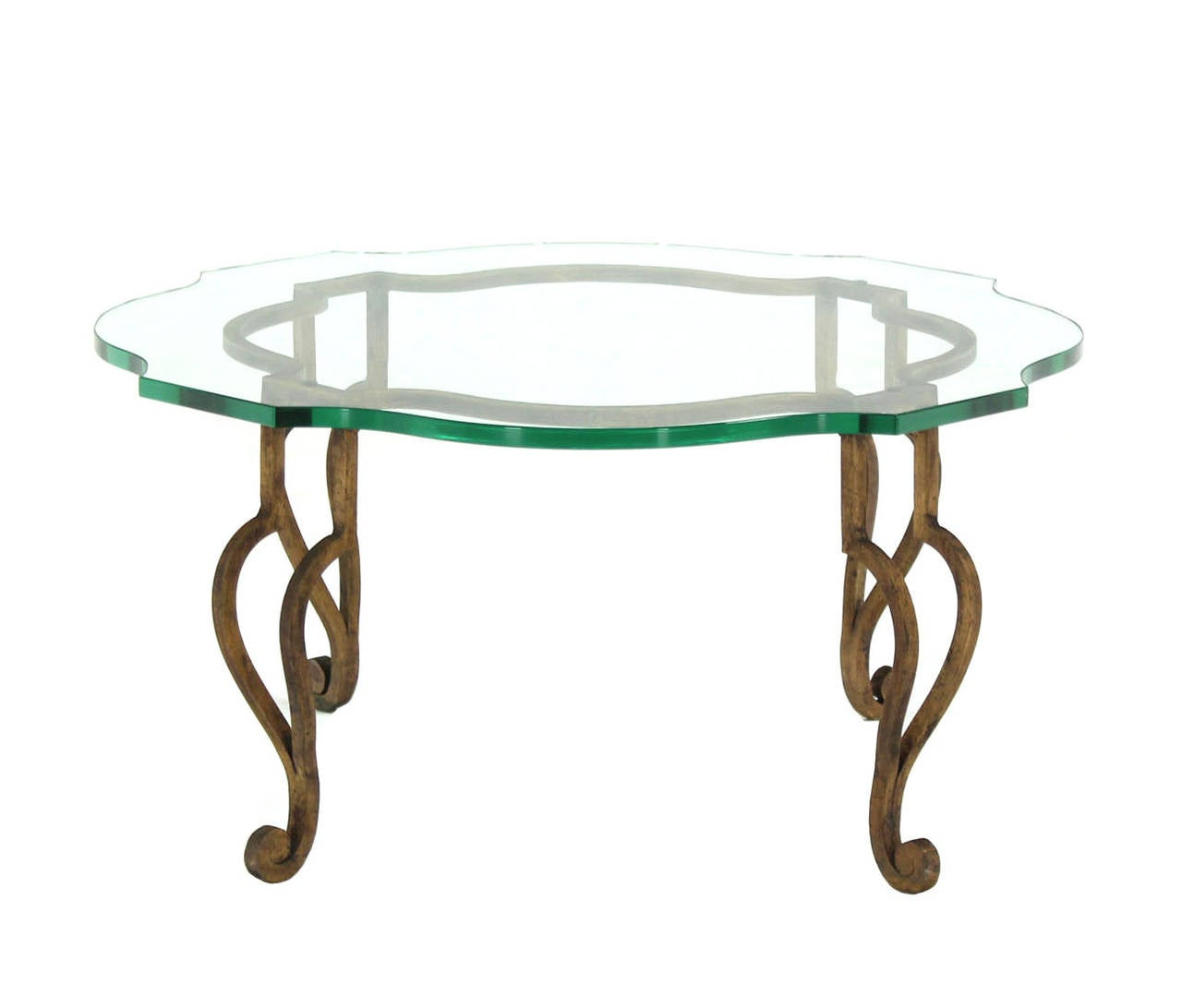 Figural wrought iron base coffee table with thick glass for Round glass top coffee table wrought iron