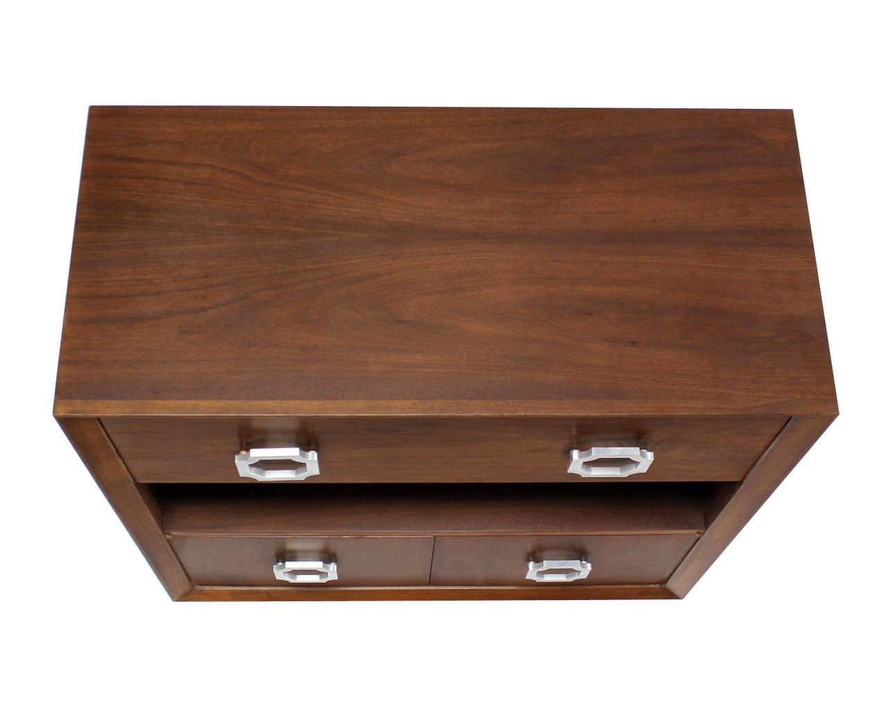 Lacquered Walnut Mid Century Modern Drop Down Desk Secretary For Sale